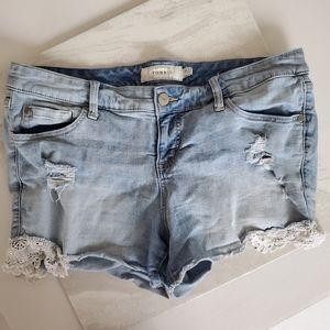 Torrid Denim Lace Shorts 14 Distressed
